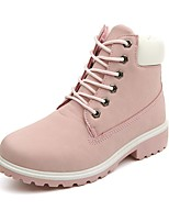 Women's Shoes Leatherette Fall Winter Fashion Boots Boots Low Heel Round Toe Booties/Ankle Boots Lace-up For Casual Outdoor Blushing Pink