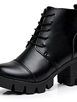 Women's Shoes Leather Fall Combat Boots Boots Chunky Heel Round Toe Lace-up For Casual Black