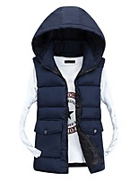 Men's Short Padded Coat,Simple Going out Casual/Daily Solid-Polyester Polypropylene Sleeveless