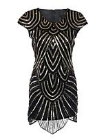 Latin Dance Dresses Women's Performance Polyester Sequined Paillette 1 Piece Short Sleeve High Dress