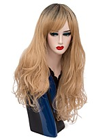 Women Synthetic Wig Capless Long Deep Wave Flaxen Ombre Hair Halloween Wig Costume Wigs