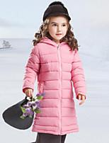 Девочки На пуховой / хлопковой подкладке Полиэстер Однотонный Осень Зима Длинный рукав