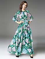 Для женщин Для вечеринок На выход На каждый день Секси Винтаж Изысканный А-силуэт Платье Цветочный принт,Круглый вырез Макси Длинный рукав
