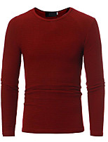 Men's Casual/Daily Regular Pullover,Solid Round Neck Long Sleeves Others Spring Winter Medium Micro-elastic