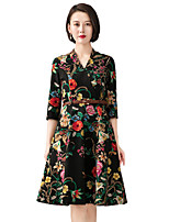 YHSP Women's Going out Casual/Daily Simple Street chic Sophisticated A Line Sheath Swing DressFloral Stand Above Knee Half Sleeves Polyester