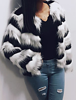 Women's Going out Casual/Daily Work Simple Active Fall Winter Fur Coat,Striped Round Neck Long Sleeve Regular Faux Fur