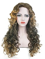 Women Synthetic Wig Capless Long Curly Brown Highlighted/Balayage Hair Party Wig Celebrity Wig Halloween Wig Cosplay Wig Natural Wigs