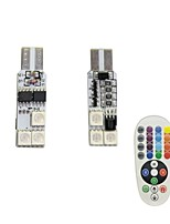 1Set 1.5W T10 6SMD5050 RGB LED Remote Control Car Lamp DC12V