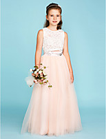 Princess Two Piece Jewel Neck Floor Length Lace Tulle Junior Bridesmaid Dress with Crystal Detailing by LAN TING BRIDE®