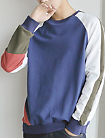 Men's Going out Casual/Daily Street chic Sweatshirt Color Block Round Neck Micro-elastic Cotton Long Sleeve Fall