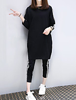 Women's Sports Work Simple Fall Winter Hoodie Pant Suits,Solid Striped Round Neck Long Sleeve Micro-elastic