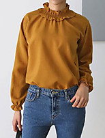 Women's Plus Size Casual/Daily Simple Fall Shirt,Solid Crew Neck Long Sleeves Polyester Medium