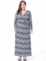 Women's Plus Size Casual/Daily Street chic A Line Dress,Print V Neck Maxi Long Sleeves Polyester Spring Fall High Rise Micro-elastic