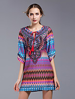 Damen Etuikleid Kleid-Ausgehen Lässig/Alltäglich Übergröße Strand Retro Boho Street Schick Geometrisch Rundhalsausschnitt Mini Halbe Ärmel