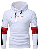 Men's Sports Casual/Daily Simple Hoodie Color Block Hooded Micro-elastic Cotton Acrylic Long Sleeve Fall