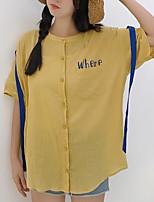 Для женщин На выход На каждый день Лето Осень Рубашка Круглый вырез,Простое Однотонный Буквы Рукав до локтя,Хлопок Лён,Средняя