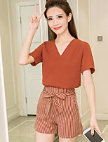 Women's Casual/Daily Simple Summer Blouse Pant Suits,Solid Striped V Neck Short Sleeve Micro-elastic