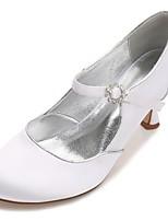 Femme Chaussures Satin Printemps Eté Confort Escarpin Basique Chaussures de mariage Talon Bas Kitten Heel Talon Aiguille Bout rond Strass