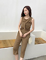 Women's Casual/Daily Simple Summer T-shirt Pant Suits,Solid Round Neck Sleeveless Micro-elastic