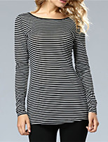 Women's Holiday Casual/Daily Simple Street chic Fall T-shirt,Striped Round Neck Long Sleeves Polyester