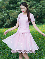 Women's Holiday Going out Simple Chinoiserie Spring Summer Blouse Skirt Suits,Floral Round Neck Short Sleeve Inelastic