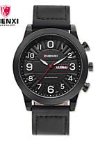 Men's Dress Watch Fashion Watch Chinese Quartz Calendar Leather Band Charm Luxury Cool Casual Black Khaki