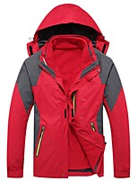 Men's Hiking Jacket Windproof Rain-Proof Wearable Breathability Full Length Visible Zipper 3-in-1 Jacket Winter Jacket Top for Camping /