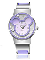 Women's Fashion Watch Simulated Diamond Watch Unique Creative Watch Chinese Quartz Alloy Band Bangle Casual Blue Silver Pink Purple