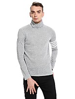 Men's Going out Casual/Daily Simple Sexy Street chic Sweatshirt Solid Color Block Turtleneck Micro-elastic Cotton Polyester Long Sleeve