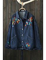 Women's Going out Casual/Daily Simple Spring Fall Denim Jacket,Solid Print Shirt Collar Long Sleeve Regular Others Embroidered