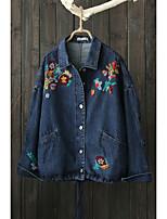 Feminino Jaqueta jeans Para Noite Casual Simples Primavera Outono,Sólido Estampado Padrão Outros Colarinho de Camisa Manga Longa Bordado