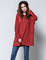Women's Going out Casual/Daily Sexy Simple All Seasons T-shirt,Solid Round Neck Long Sleeves Cotton Acrylic Medium