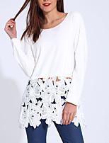 Tee-shirt Femme,Couleur Pleine Sortie Soirée Sexy simple Chic de Rue Printemps Automne Manches Longues Col Arrondi Polyester Moyen