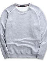 Men's Casual/Daily Simple Sweatshirt Solid Round Neck Micro-elastic Cotton Long Sleeve Winter