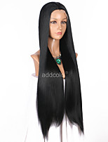 Women Synthetic Wig Lace Front Very Long Straight Dark Black Natural Hairline Party Wig Celebrity Wig Halloween Wig Cosplay Wig Natural