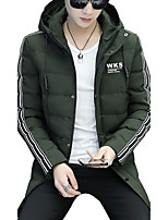 Men's Long Padded Coat,Simple Boho Street chic Casual/Daily Work Solid Letter-Cotton Polyester Polyester Long Sleeves