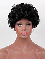 Women Synthetic Wig Capless Short Curly Afro Dark Black African American Wig Natural Wigs Costume Wig
