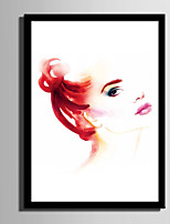 E-HOME® Framed Canvas Art Watercolor Woman Framed Canvas Print One Pcs