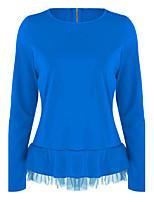 Tee-shirt Femme,Couleur Pleine Sortie Décontracté / Quotidien simple Chic de Rue Printemps Automne Manches Longues Col Arrondi Polyester