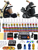 starter tattoo kits 2 alloy machine liner & shader LCD power supply 5 x tattoo needle RL 3 5 x tattoo needle RL 5 5 x tattoo needle RS 5
