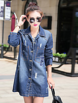 Women's Casual/Daily Simple Fall Denim Jacket,Solid Notch Lapel Long Sleeve Long Cotton