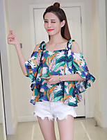 Women's Casual/Daily Simple Shirt,Print Strap Short Sleeves Others