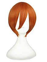 Women Synthetic Wig Capless Short Straight Orange Braided Wig Cosplay Wig Costume Wig