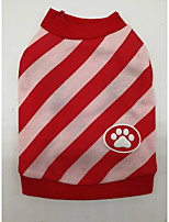 Dog Shirt / T-Shirt Dog Clothes Christmas Stripe Blue Red