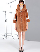 Mary Yan & Yu Women's Going out Casual/Daily Simple Vintage Cute Winter Fur Coat,Solid Color Block Hooded Long Sleeve Regular Wool Fox Fur