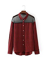 Women's Going out Casual/Daily Sexy Simple Street chic Spring Fall Shirt,Solid Color Block Houndstooth Shirt Collar Long Sleeves Cotton