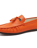 Men's Shoes Leather Spring Fall Moccasin Loafers & Slip-Ons For Casual Khaki Orange Black White