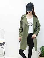 Women's Going out Casual/Daily Simple Street chic Spring Fall Trench Coat,Solid Notch Lapel Long Sleeve Long Cotton Others