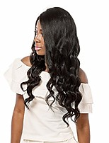 cheap -Women Human Hair Lace Wig Brazilian Remy Glueless Lace Front 130% Density Wavy Wig Medium Brown Dark Brown Black Dark Black Short Medium
