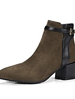 Women's Shoes Flocking PU Fall Winter Comfort Boots Chunky Heel Pointed Toe Buckle Zipper For Outdoor Office & Career Wine Dark Grey Black